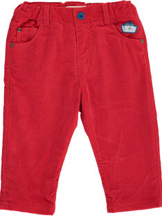Pantalon en velours rouge bébé garçon DUNAUPAN1 / 18WG10G1PANF517