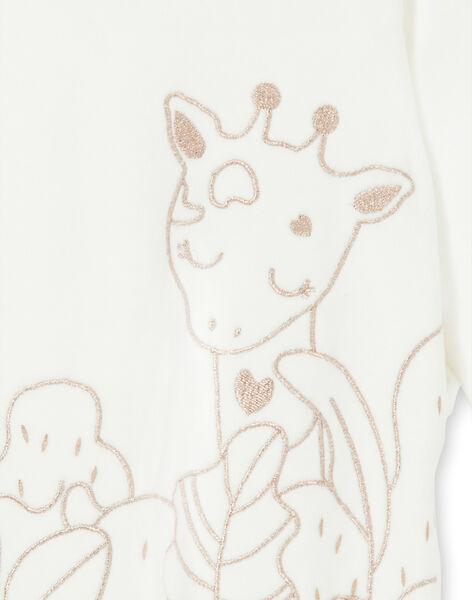 Grenouillère écrue en velours motif giraffe LEFIGREGIR / 21SH135BGRE001