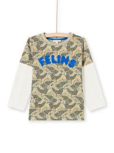 T-shirt vert kaki imprimé léopard enfant garçon MOKATEE3 / 21W902I2TML612