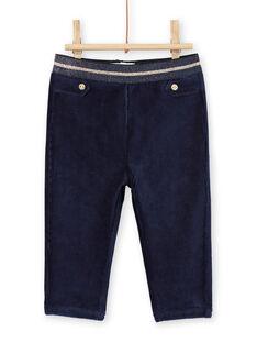 Pantalon bleu marine en velours détails dorés bébé fille MIMIXPAN / 21WG09J1PAN070