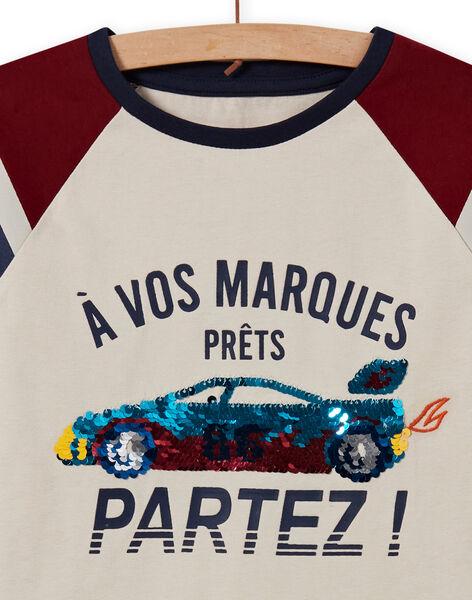 Ensemble pyjama à motif voiture en sequins réversibles enfant garçon MEGOPYJSPOR / 21WH1232PYJ080