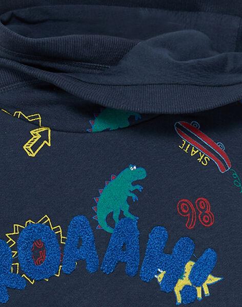 Sweat shirt garçon à capuche marine imprimé JOGRASWE / 20S902E1SWE705