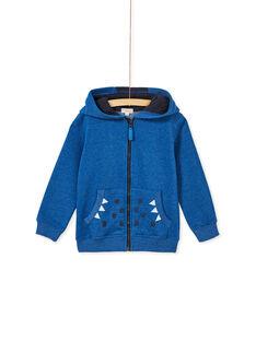 Gilet bleu chiné zippé à capuche enfant garçon. KOREGIL / 20W902G1D58C223
