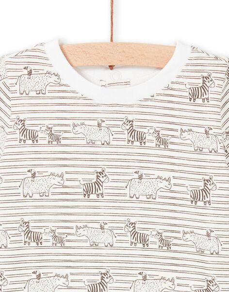T-shirt écru et marron à rayures bébé garçon LUTERTI3 / 21SG10V3TMC001