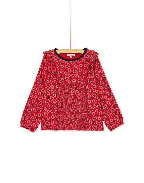 T-shirt manches longues à imprimé léopard et volant KABRITEE4 / 20W901F3TML408