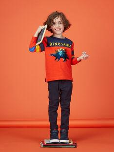 Tee shirt rouge et bleu manches longues enfant garçon. KORETEE3 / 20W902G2TMLF527