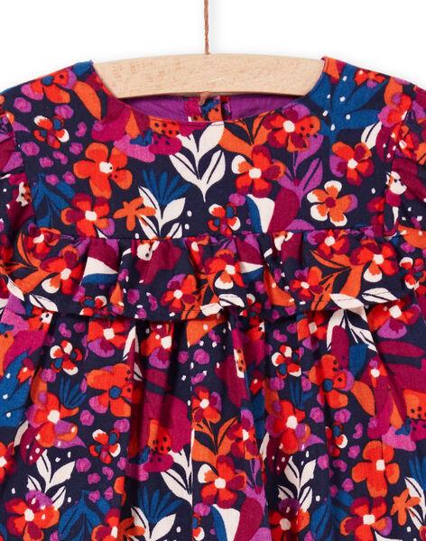 Robe manches longues imprimé fleuri coloré bébé flle MIPAROB1 / 21WG09H6ROBD319