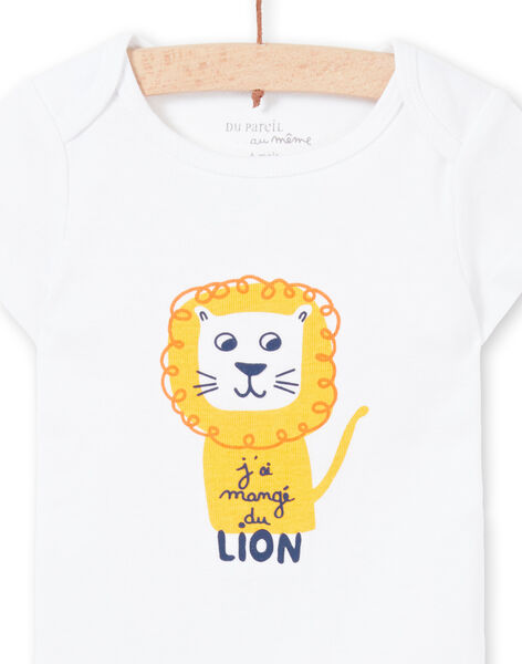 Body manches courtes blanc motif lion bébé garçon MEGABODLIO / 21WH14B4BDL000