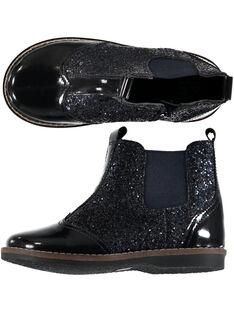 Boots en croûte de cuir marine réhaussée par une bande élastique glitter multicolore et un tire botte en croute de cuir rose GFBOOTMAR / 19WK35IDD0D070