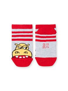 Chaussettes basses grises et rouges à rayures enfant garçon LYOVISOQ / 21SI02U1SOQ943