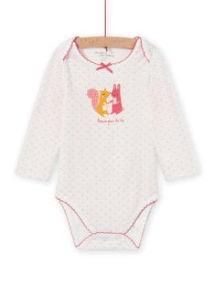 Body blanc à pois motif animaux bébé fille MEFIBODAMI / 21WH13C5BDL001