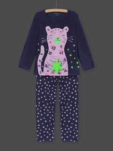 Ensemble pyjama phosphorescent motif léopard fantaisie en velours enfant fille MEFAPYJSTA / 21WH1192PYJC202