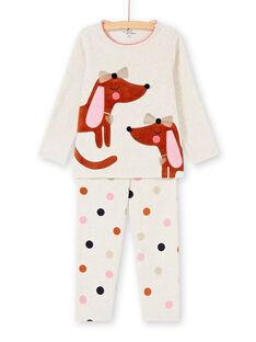 Pyjama enfant fille motifs chiens KEFAPYJDOG / 20WH11C4PYJ006