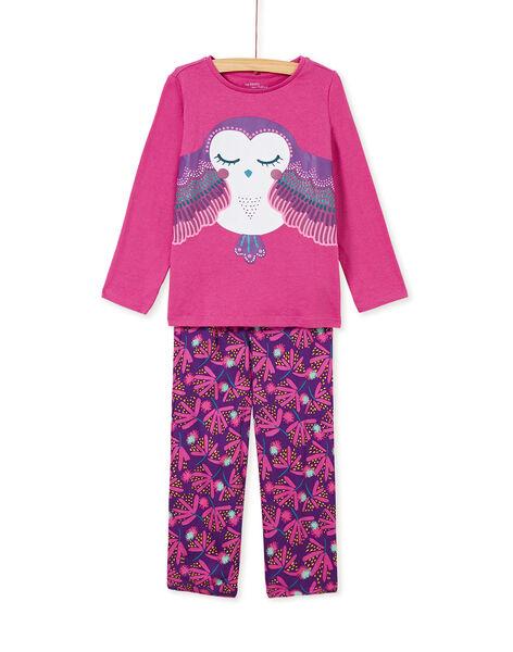 Pyjama enfant fille motif chouette KEFAPYJVIS / 20WH11B1PYJ712