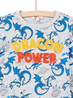 T-shirt gris chiné et bleu imprimé dragon enfant garçon MOPLATEE1 / 21W902O2TMLJ922