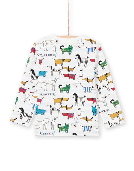 T-shirt blanc réversible imprimé chiens et rayures enfant garçon MOMIXTEE1 / 21W902J1TML810