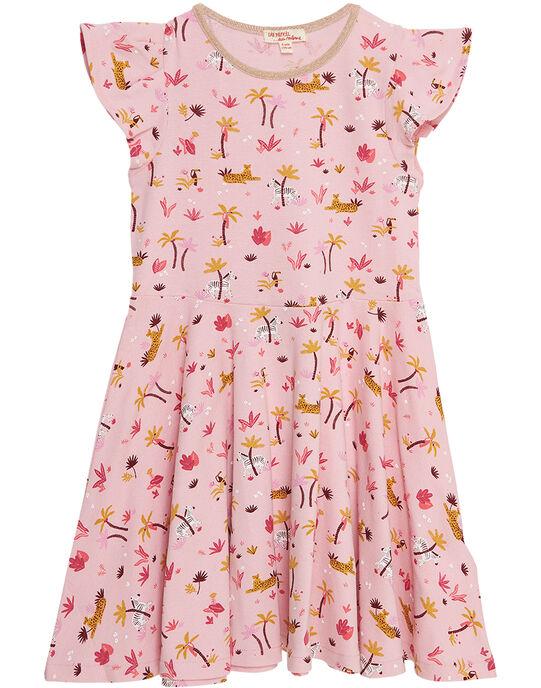 Robe manche courte imprimé végétal et animal en coton piqué  JADUROB5 / 20S901O4ROB321