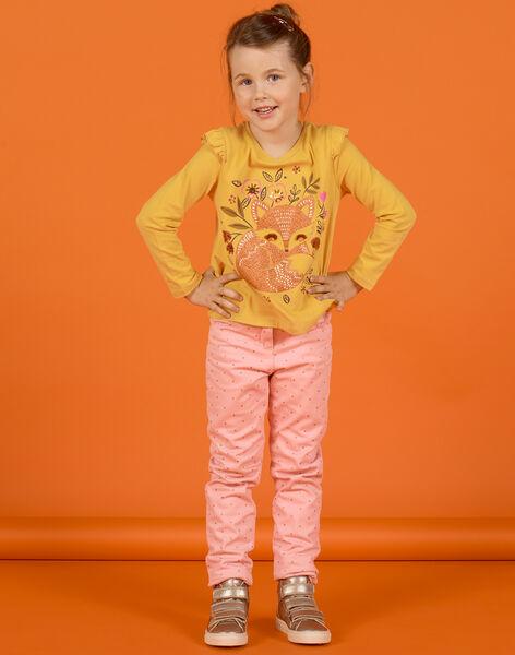 Pantalon vieux rose à pois enfant fille MASAUPANT2 / 21W901P1PAN303