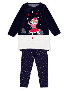 Chemise de nuit en velours et legging en jersey Noël enfant fille  GEFACHUNO / 19WH11T1CHN070