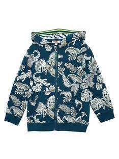 Gilet garçon en molleton imprimé jungle et crocos bleu pétrole JOCLOGIL / 20S90211GIL715