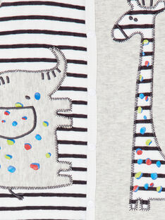 Grenouillère layette garçon rayée motif savane KEGAGRERAY / 20WH14C3GREJ908
