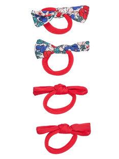Lot de 4 élastiques avec nœuds (2avec motif fleurs + 2 unis)  JYAJACLIC2 / 20SI01B1BRT050