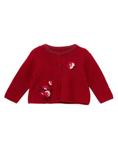 Cardigan brodé en point mousse bébé fille JIVICAR / 20SG09D1CAR330