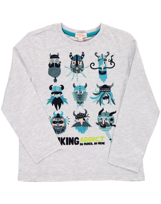 Tee Shirt Manches Longues Gris DOGITEE3 / 18W902N3TMLJ906
