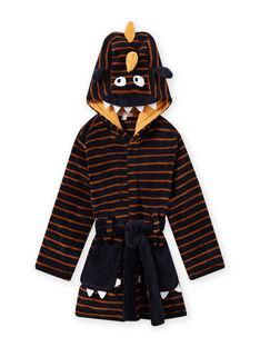 Robe de chambre bleu nuit à rayures motif monstre enfant garçon MEGOROBMON / 21WH1291RDC705