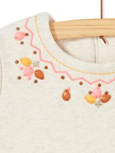 Robe manches courtes fourrée, broderies et perles au col KAGOROB3 / 20W901L2ROB001