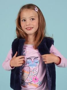 Gilet sans manches réversible fausse fourrure bleu nuit enfant fille MAPLACAR1 / 21W901O2CARC202