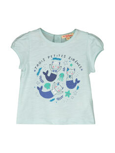 Tee Shirt Manches Courtes Turquoise FINETI / 19SG09B1TMCC216