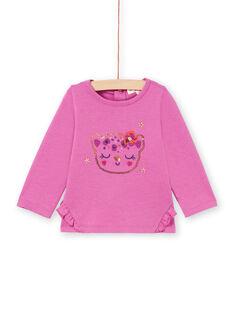 T-shirt rose à motif léopard à paillettes bébé fille MIPATEE2 / 21WG09H3TMLH705