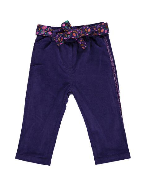 Pantalon en velours doublé polaire bébé fille DIVIOPAN / 18WG09H1PAN711