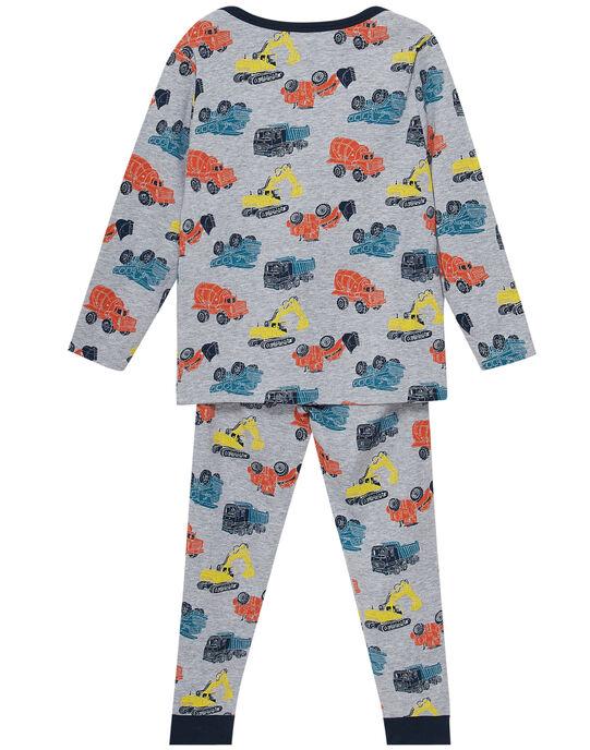 Pyjama en côte 1x1 gris chiné enfant garçon JEGOPYJAOP / 20SH1225PYJ943