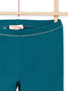 Legging turquoise détails dorés enfant fille MYAJOLEG4 / 21WI0114CAL714
