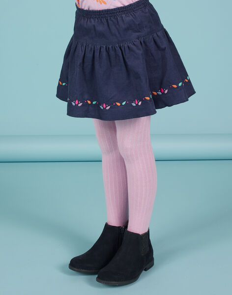 Jupe réversible bleu nuit imprimé fleuri enfant fille MAPLAJUP1 / 21W901O1JUPC202