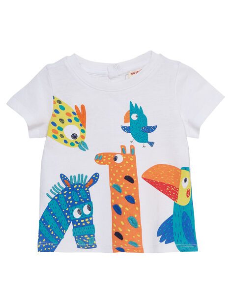 T-shirt manches courtes blanc motifs animaux fantaisie bébé garçon JUMARTI1 / 20SG10P2TMC000