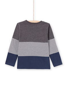 T-shirt gris chiné et bleu marine enfant garçon MOJOTIDEC3 / 21W90222TML944