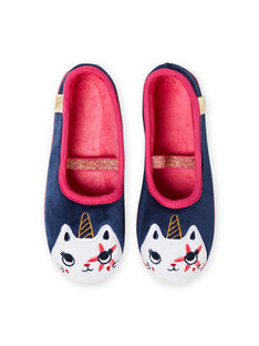 Pantoufles bleu marine motif chat licorne enfant fille MAPANTCATLIC / 21XK3534D07070