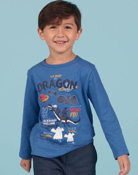T-shirt bleu motif dragon enfant garçon MOPLATEE2 / 21W902O1TML221