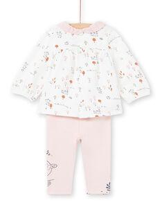 Chemisier blanc et legging rose imprimé fantaisie naissance fille MOU1ENS2 / 21WF0341ENS001