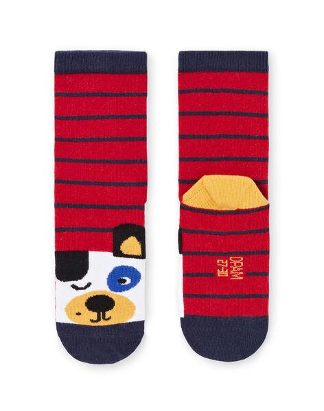 Chaussettes à rayures et motifs chiens enfant garçon MYOMIXCHO / 21WI02J1SOQ505