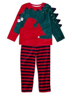 Pyjama bordeaux en velours enfant garçon  GEGOPYJROUG / 19WH12N2PYJF508