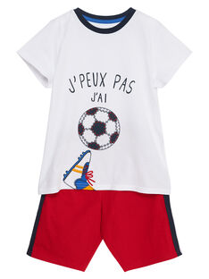 Pyjama court enfant garçon blanc et rouge JEGOPYCFOOT / 20SH12U9PYJ000