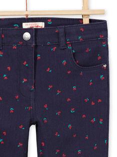 Pantalon en sergé bleu nuit à imprimé fleurs et cœurs enfant garçon MAJOPANT3 / 21W90121PANC205