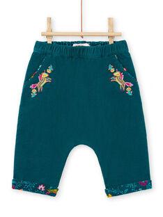 Pantalon réversible bleu canard bébé fille MITUPAN / 21WG09K1PAN714