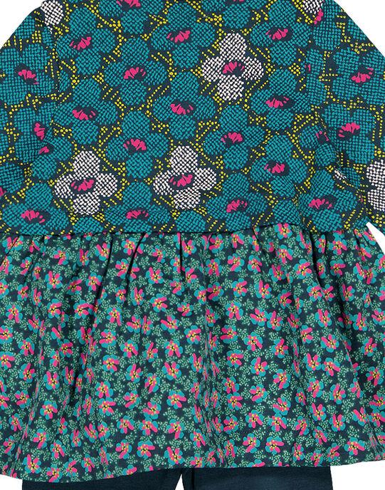 Ensemble en molleton robe leggins imprimé layette fille GITUENS / 19WG09Q1ENS714