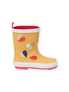 Bottes de pluie jaunes à motifs cœurs fantaisie enfant fille MAPLUICOEUR / 21XK3511D0C400