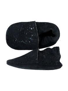 Chausson cuir souple fantaisie étoiles  bébé fille marine GNFSTAR / 19WK37Z1D3S070